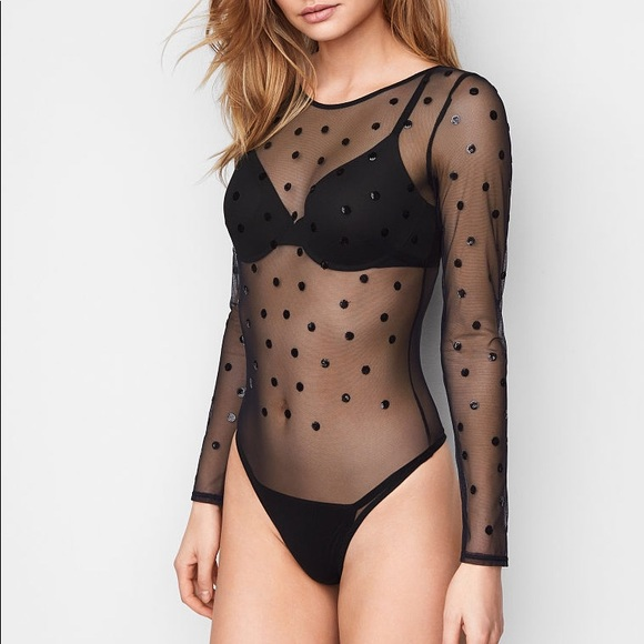 Victoria s Secret Black Embellished Mesh Bodysuit 79cae58b4